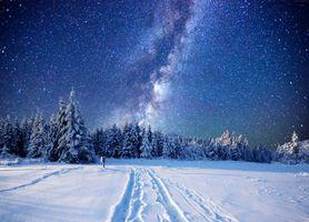 Бесплатные фото зима,ночь,свечение,сияние,снег,деревья,сугробы