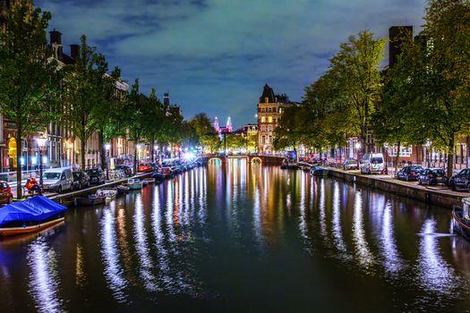 Photo free Netherlands, night city, canal