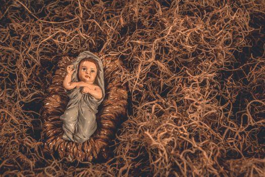 Photo free art, baby Jesus, barn