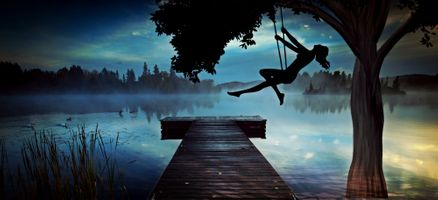 Бесплатные фото озеро,ночь,лунный свет,мостик,причал,дерево,качели