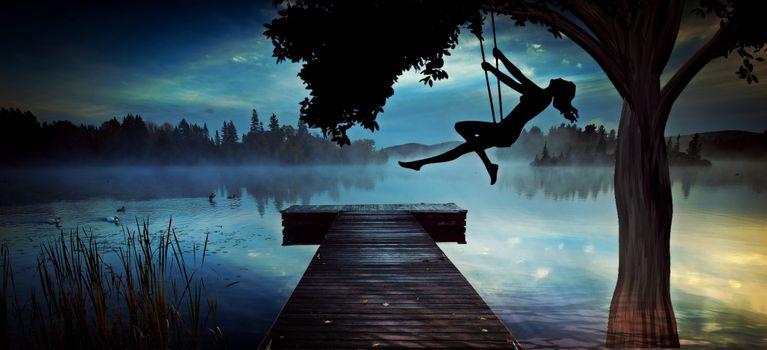 Фото бесплатно озеро, ночь, лунный свет