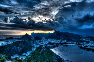 Бесплатные фото Рио де Жанейро,Бразилия,Rio de Janeiro,Brazil,город,закат,сумерки