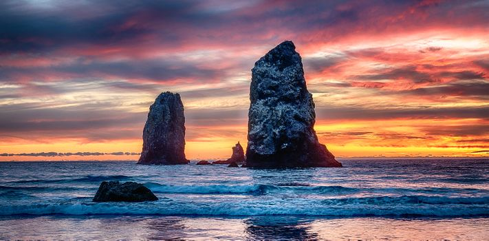 Photo free beach, sky, Sunset at Cannon Beach
