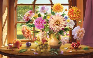 Бесплатные фото окно,стол,ваза,цветы,георгины,виноград,фрукты