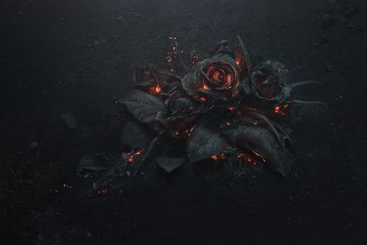 Roses from volcanic lava