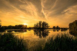 Фото бесплатно закат, озеро, силуэты