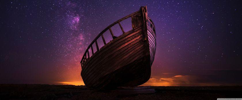 Заставки Night,ship,stars