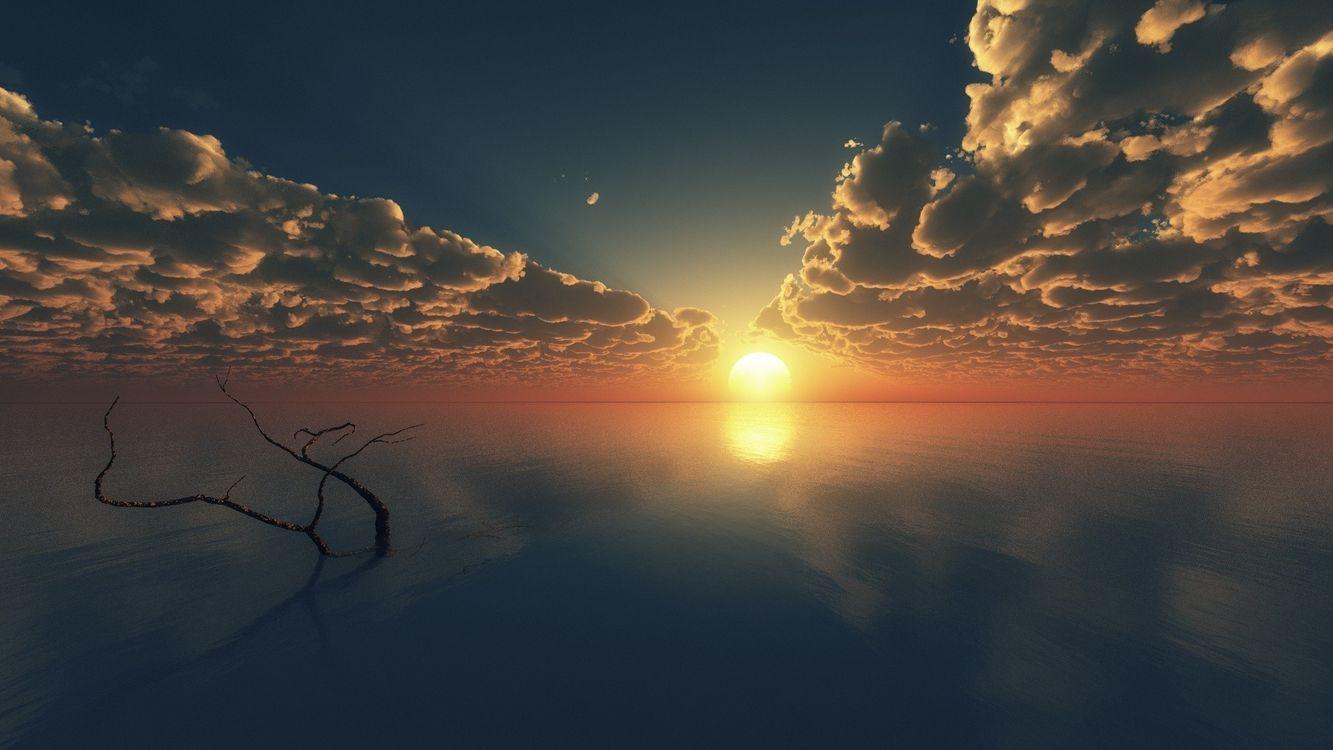 Фото бесплатно закат, Облака, океан - на рабочий стол