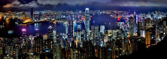 Бесплатные фото Гонконг,город,ночь,гавань,небоскреб,здание,огни