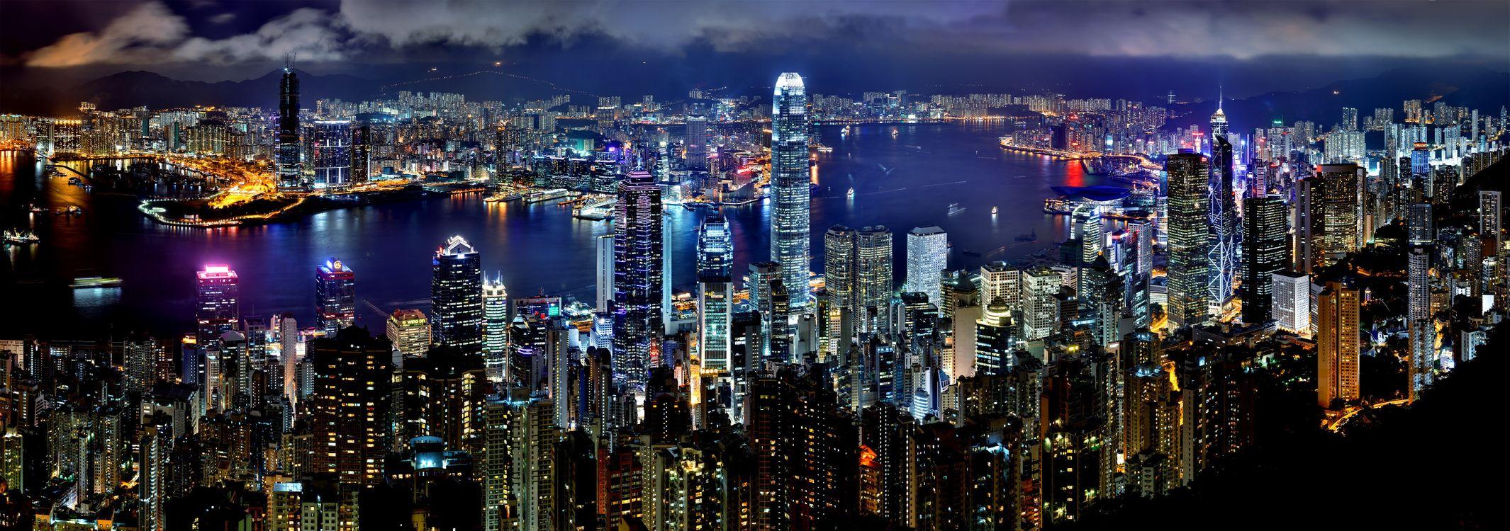Фото бесплатно Гонконг, город, ночь, гавань, небоскреб, здание, огни - на рабочий стол