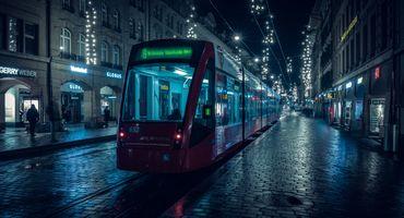 Фото бесплатно Берн, трамвай, ночной пейзаж