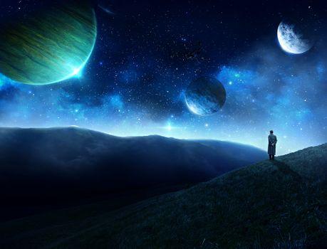 Бесплатные фото космос,планеты,горы,холмы,свечение,сияние,мерцание,art