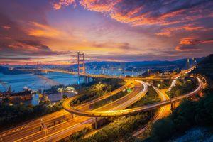 Фото бесплатно Цин ма мостовая связь между аэропортом и городом Гонконг, основной транспорт в Гонконге, Китай