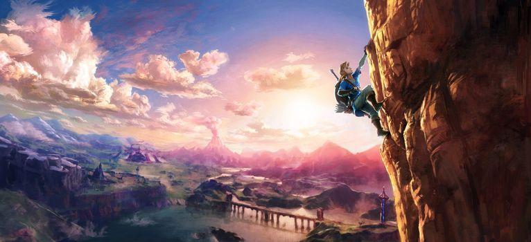 Photo free the legend of Zelda, link, climbing