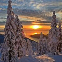 Photo free winter, mountain, Sunset views of the Pacific ocean with mount Cypress