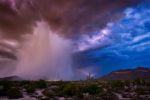 Фото бесплатно гроза, молния, пустыня