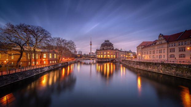 Фото бесплатно berlin, Берлин, ночь, огни, фонари, столица, deutschland, germany, Германия, город, панорама, ночные города