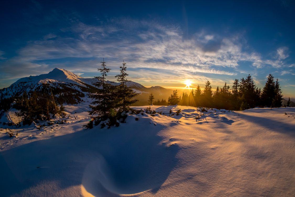 Фото бесплатно закат, пейзаж, зима - на рабочий стол