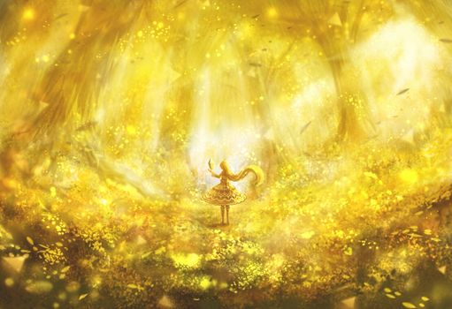 Фото бесплатно аниме девушка, лес, магия