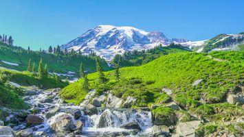 Бесплатные фото горы,река,водопад,холмы,камни,деревья,природа