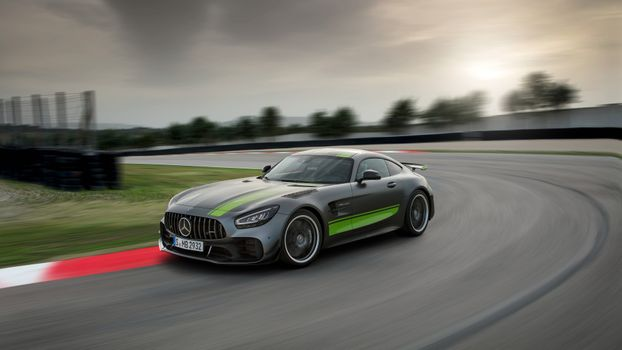Mercedes AMG GT C on the track · free photo
