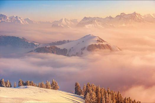 Фото бесплатно красивое небо, закат, Швейцария
