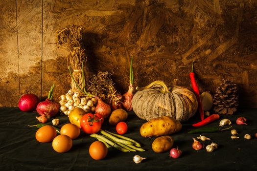 Still life with vegetables and eggs · free photo
