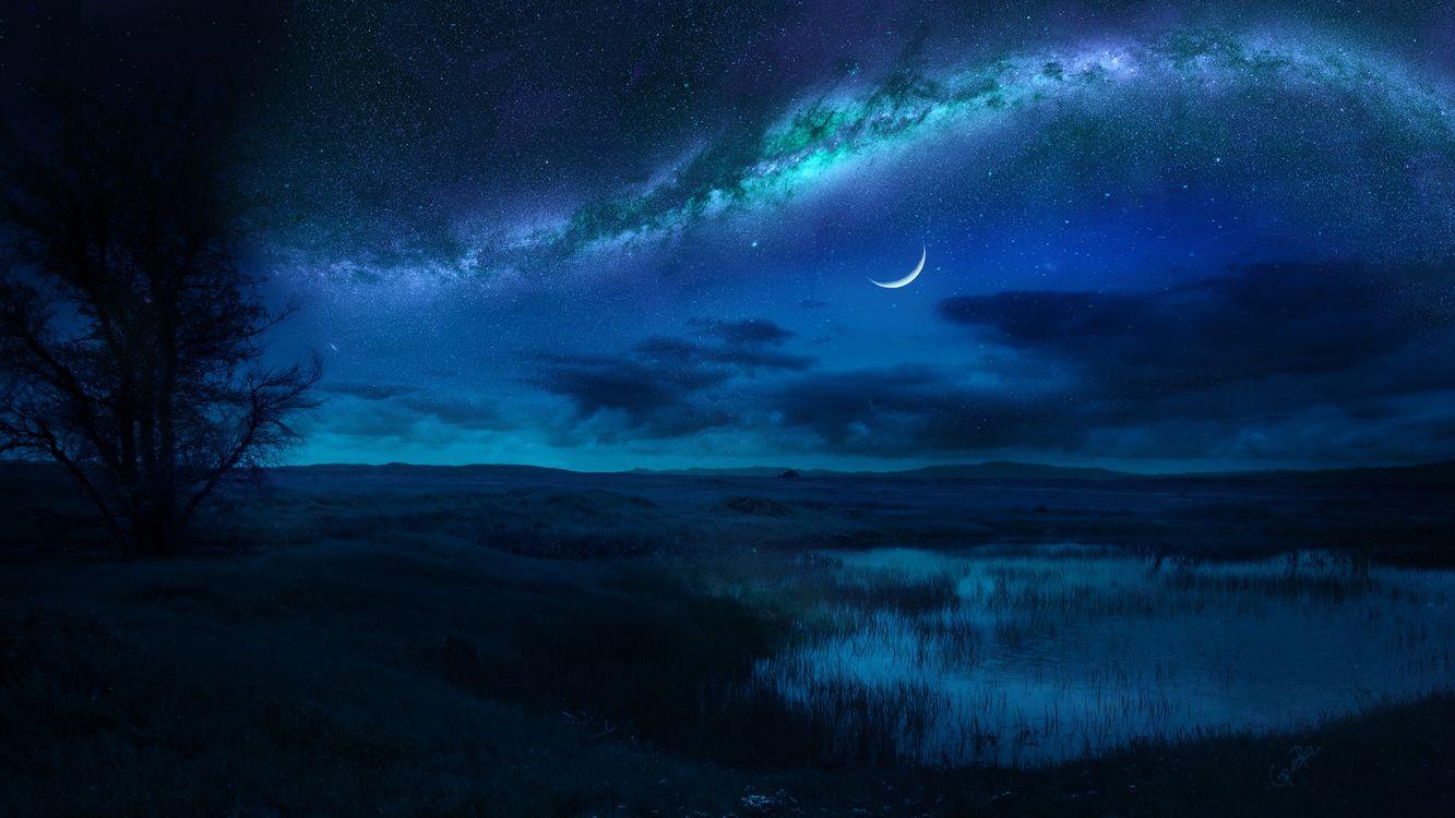 Фото бесплатно поле, озеро, ночь, сияние, свечение, месяц, пейзаж, art, пейзажи