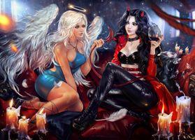 Заставки ангел и демон, девушка, девушки