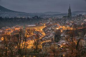 Фото бесплатно Берн, ночной город, освещение