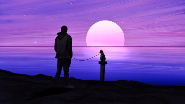 Фото бесплатно мужчина, кон, закат