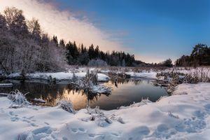 Заставки зима, следы, снег