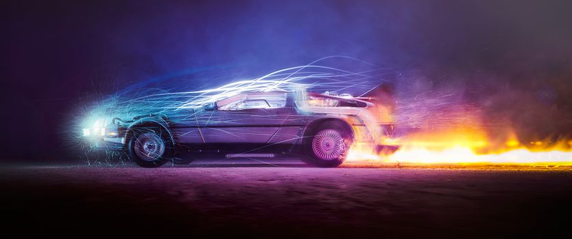 Photo free Car lights, Flames, Back to the future