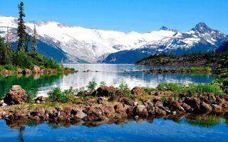 Заставки озера, пейзажи, горы, природа, отражение, снег