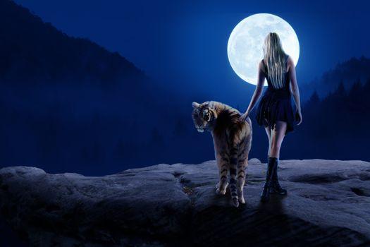 Photo free night, moon, girl