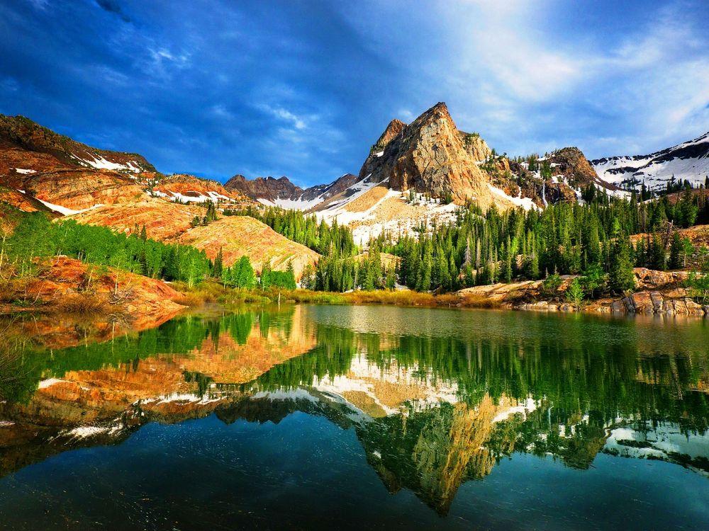 Фото бесплатно Юты, США, горы, озеро, отражение, деревья, природа, пейзаж, пейзажи