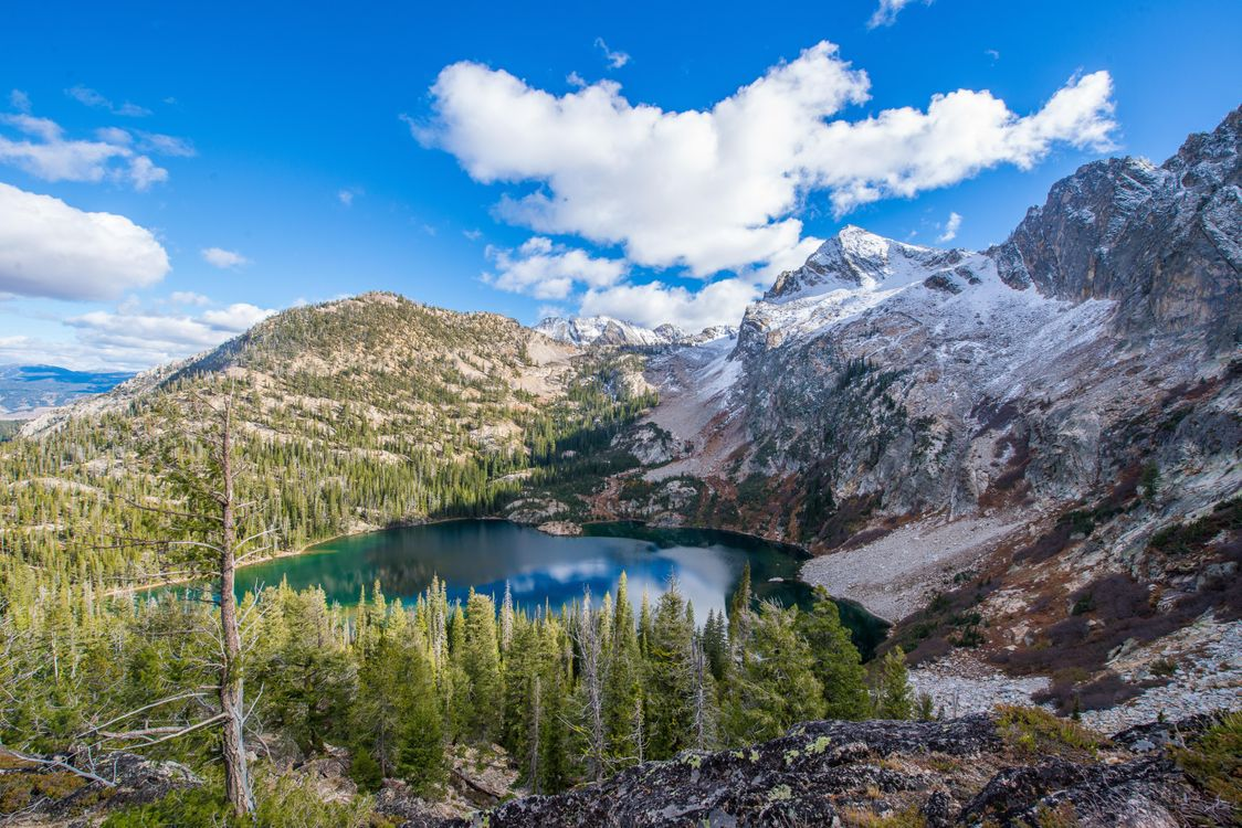 Фото бесплатно Alpine Lake, Stanley, Idaho, USA, горы, озеро, деревья, пейзаж, пейзажи