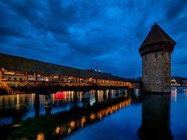 Photo free Lucerne, lights, night