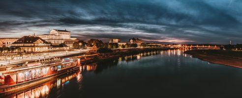 Фото бесплатно Дрезден, ручей, ночной город