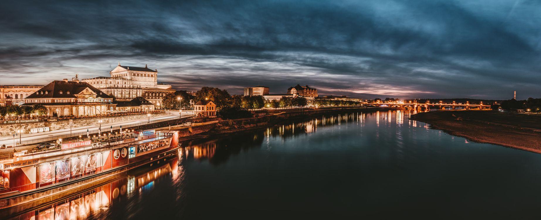 Фото бесплатно Дрезден, ручей, ночной город - на рабочий стол