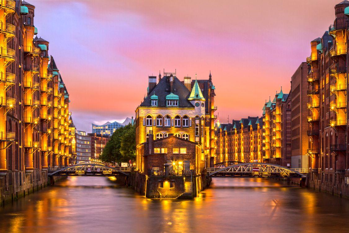 Фото бесплатно сумерки, архитектура, Гамбург - на рабочий стол