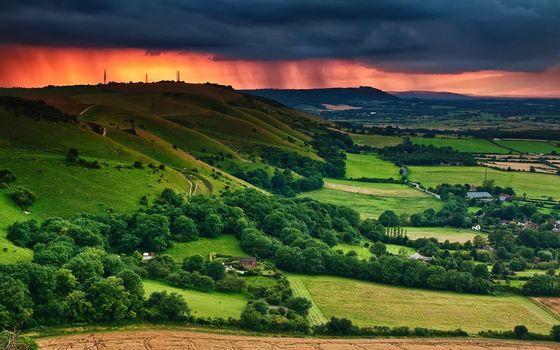 Фото бесплатно холмы, дождь, небо
