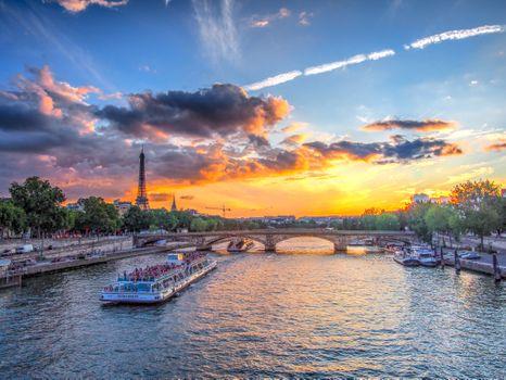 Фото бесплатно сумерки, France, Eiffel tower