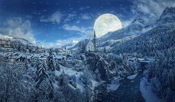 Бесплатные фото зима,ночь,снег,горы,луна,деревня,церковь