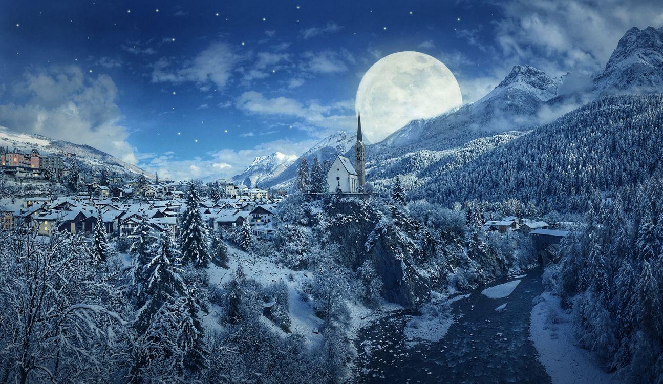 Фото бесплатно пейзаж, деревня, снег - на рабочий стол