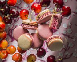 Бесплатные фото макаруны,печенье,фрукты,черешня