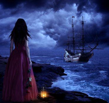 Photo free sea, night, dusk
