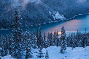 Заставки Peyto Lake, Banff National Park, Озеро Пейто, национальный парк Банф, Альберта, Канада, закат