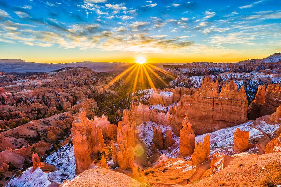 Фото бесплатно Bryce Canyon, Utah, горы, скалы, закат, небо, природа - на рабочий стол