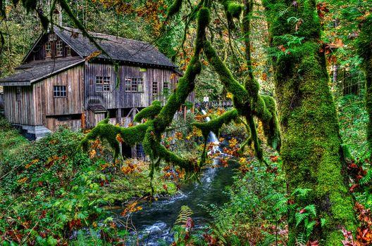 Photo free waterfall, river, Cedar Creek Grist Mill